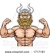 Vector Illustration of Cartoon Viking Barbarian Mascot Muscle Strong Cartoon by AtStockIllustration