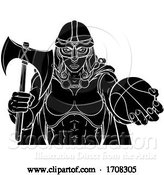 Vector Illustration of Cartoon Viking Celtic Knight Basketball Warrior Lady by AtStockIllustration