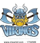 Vector Illustration of Cartoon Viking Crossed Axes Mascot Warrior Sign Graphic by AtStockIllustration
