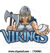 Vector Illustration of Cartoon Viking Trojan Celtic Knight Baseball Warrior Lady by AtStockIllustration