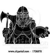Vector Illustration of Cartoon Viking Trojan Celtic Knight Football Warrior Lady by AtStockIllustration