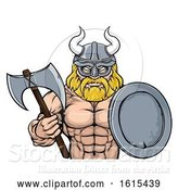 Vector Illustration of Cartoon Viking Warrior Mascot by AtStockIllustration