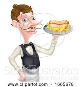 Vector Illustration of Cartoon Waiter Butler Holding Hotdog and Fries by AtStockIllustration