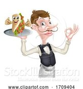 Vector Illustration of Cartoon Waiter with Perfect Kebab by AtStockIllustration