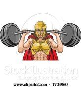 Vector Illustration of Cartoon Warrior Lady Weightlifter Lifting Barbell by AtStockIllustration