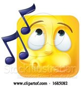 Vector Illustration of Cartoon Whistling Square Emoticon by AtStockIllustration