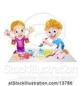 Vector Illustration of Cartoon White Boy and Girl Kneeling and Painting by AtStockIllustration