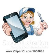 Vector Illustration of Cartoon White Female Electrician Holding a Screwdriver and Cell Phone over a Sign by AtStockIllustration
