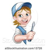 Vector Illustration of Cartoon White Female Electrician Holding a Screwdriver Around a Sign by AtStockIllustration