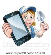 Vector Illustration of Cartoon White Female Gardener Holding a Garden Trowel and Cell Phone over a Sign by AtStockIllustration