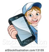 Vector Illustration of Cartoon White Female Worker Holding a Cell Phone Around a Sign by AtStockIllustration