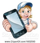Vector Illustration of Cartoon White Female Worker Holding a Cell Phone over a Sign by AtStockIllustration