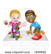 Vector Illustration of Cartoon White Girl and Black Boy Playing with Blocks and a Toy Car by AtStockIllustration