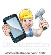 Vector Illustration of Cartoon White Male Carpenter Holding a Hammer and Cell Phone over a Sign by AtStockIllustration