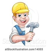 Vector Illustration of Cartoon White Male Carpenter Holding a Hammer Around a Sign by AtStockIllustration