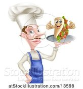 Vector Illustration of Cartoon White Male Chef Holding a Souvlaki Kebab Sandwich on a Tray by AtStockIllustration