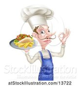 Vector Illustration of Cartoon White Male Chef with a Curling Mustache, Holding a Souvlaki Kebab Sandwich and French Fries on a Tray by AtStockIllustration