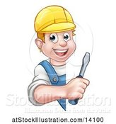 Vector Illustration of Cartoon White Male Electrician Holding a Screwdriver Around a Sign by AtStockIllustration