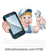 Vector Illustration of Cartoon White Male Mechanic Holding a Spanner Wrench and Smart Phone over a Sign by AtStockIllustration
