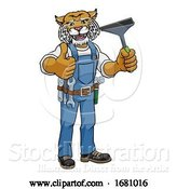 Vector Illustration of Cartoon Wildcat Car or Window Cleaner Holding Squeegee by AtStockIllustration