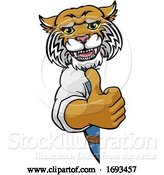 Vector Illustration of Cartoon Wildcat Construction Mascot Handyman by AtStockIllustration