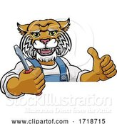 Vector Illustration of Cartoon Wildcat Electrician Handyman Holding Screwdriver by AtStockIllustration
