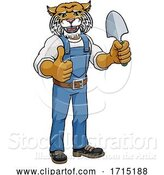 Vector Illustration of Cartoon Wildcat Gardener Gardening Animal Mascot by AtStockIllustration