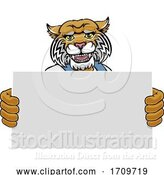 Vector Illustration of Cartoon Wildcat Mascot Handyman Holding Sign by AtStockIllustration