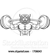 Vector Illustration of Cartoon Wildcat Mascot Weight Lifting Body Builder by AtStockIllustration