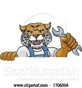 Vector Illustration of Cartoon Wildcat Plumber or Mechanic Holding Spanner by AtStockIllustration