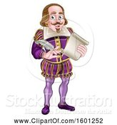 Vector Illustration of Cartoon William Shakespeare Holding a Scroll and Feather Quill by AtStockIllustration