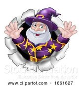 Vector Illustration of Cartoon Wizard Mascot Breaking Through Background Cartoon by AtStockIllustration