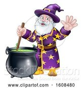 Vector Illustration of Cartoon Wizard Mixing a Potion and Waving by AtStockIllustration