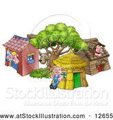 Vector Illustration of Cartoon Wolf and Pigs at Their Brick, Wood and Straw Houses by AtStockIllustration