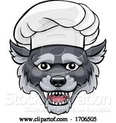 Vector Illustration of Cartoon Wolf Chef Mascot Character by AtStockIllustration