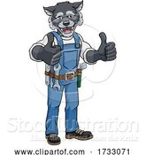 Vector Illustration of Cartoon Wolf Construction Mascot Handyman by AtStockIllustration