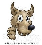 Vector Illustration of Cartoon Wolf Face Mascot Looking Around a Corner, from the Three Little Pigs Story by AtStockIllustration