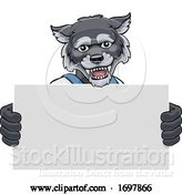 Vector Illustration of Cartoon Wolf Mascot Handyman Holding Sign by AtStockIllustration
