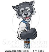 Vector Illustration of Cartoon Wolf Mascot Plumber Mechanic Handyman Worker by AtStockIllustration