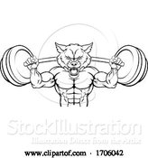 Vector Illustration of Cartoon Wolf Mascot Weight Lifting Barbell Body Builder by AtStockIllustration