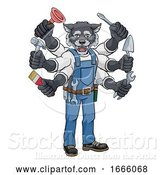 Vector Illustration of Cartoon Wolf Multitasking Handyman Holding Tools by AtStockIllustration