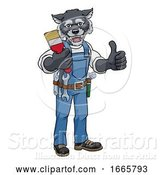Vector Illustration of Cartoon Wolf Painter Decorator Holding Paintbrush by AtStockIllustration