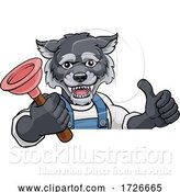 Vector Illustration of Cartoon Wolf Plumber Mascot Holding Plunger by AtStockIllustration