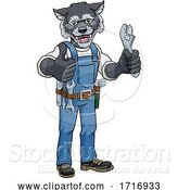 Vector Illustration of Cartoon Wolf Plumber or Mechanic Holding Spanner by AtStockIllustration