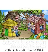 Vector Illustration of Cartoon Wolf Watching Piggies at Their Brick, Wood and Straw Houses by AtStockIllustration