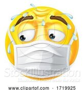Vector Illustration of Cartoon Worried Sweating Emoticon Emoji PPE Mask Face Icon by AtStockIllustration