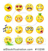 Vector Illustration of Cartoon Yellow Emoji Smiley Face Emoticons by AtStockIllustration