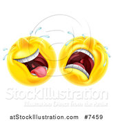 Vector Illustration of Cartoon Yellow Trajedy and Comedy Theater Emoji Emoticons by AtStockIllustration