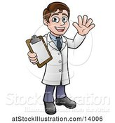 Vector Illustration of Cartoon Young Male Scientist Holding a Clipboard and Waving by AtStockIllustration
