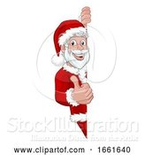 Vector Illustration of Cartoon Young Santa Christmas Sign Thumbs up by AtStockIllustration